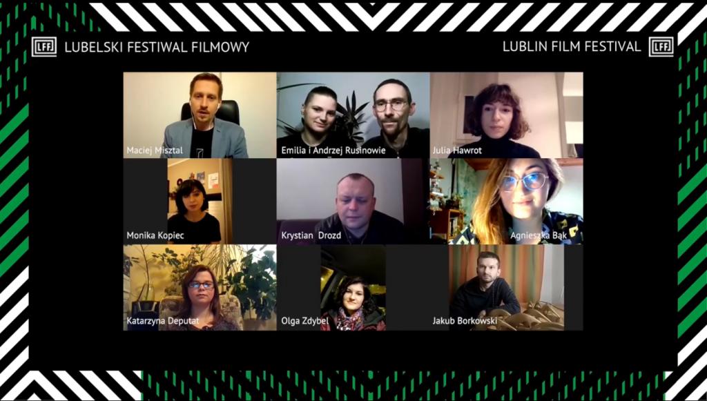 okienka internetowego komunikatora z wideorozmową, 10 osób, organizatorzy LFF